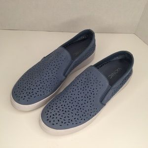 Vionic blue suede perforated sneakers.